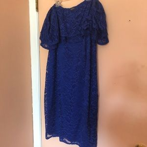 Royal blue lace off-shoulder midi dress